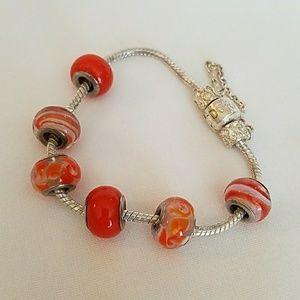 Jewelry - Silver Stamped Bracelet + 6 GLASS Beads